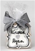 Call Out Formal Black Writing with Gray Heart Message Cookie Party Favor