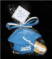 Grad Cap Blue and White - Cookie Party Favor