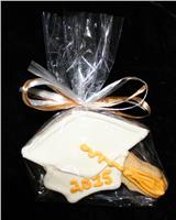 Grad Cap White and Gold - Cookie Party Favor