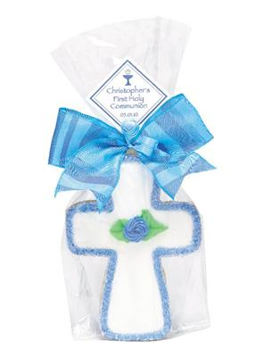 Flower Cross - Blue Small Cookie Party Favor